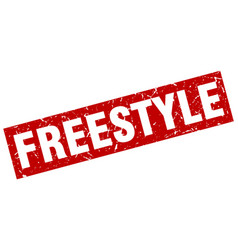 square grunge red freestyle stamp vector image vector image