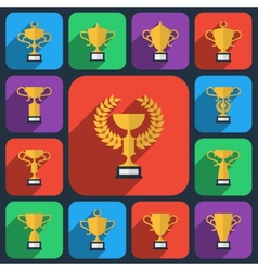 Trophy flat icons vector image