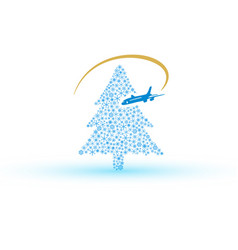 christmas tree from snowflake with airplane eps10 vector image