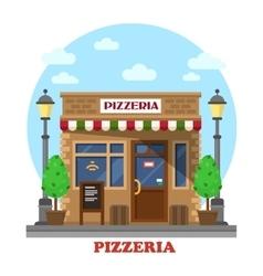 City italian pizzeria facade front view vector