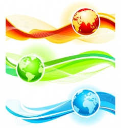 color waves and globes vector image vector image