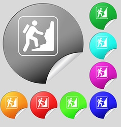 rock climbing icon sign Set of eight multi colored vector image