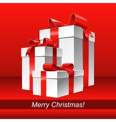 Christmas red background with white gift box vector image
