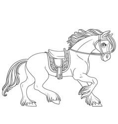 Cute cartoon horse harnessed in a harness runs vector