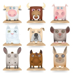 Domestic animals icon set vector image vector image