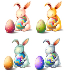 Four rabbits with easter eggs vector image