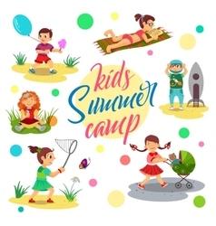 Kids summer camp cartoon children Girl vector image vector image