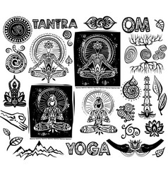 set yoga elements vector image vector image
