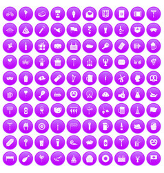 100 beer party icons set purple vector