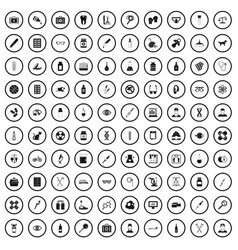 100 medical supplies icons set simple style vector