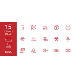 15 desk icons vector