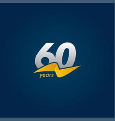 60 years anniversary celebration white blue vector