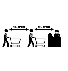 6ft apart apart stick figure with cart trolley vector