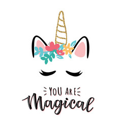 A magic cute unicorn vector