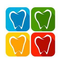 abstract tooth line art rounded square flat icons vector image vector image