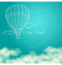 balloon flying in sunny blue sky leaving vector image