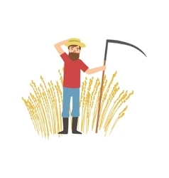 Bearded Farmer With Scythe And Wheat Field vector