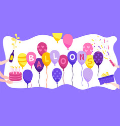 birthday balloons flat background vector image