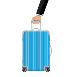 blue travel bag in hand plastic case vector image