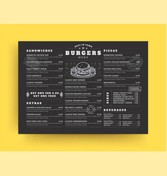 burger restaurant menu layout design brochure or vector image