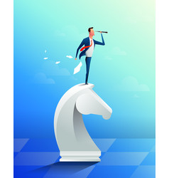 businessman on top of horse chess piece using vector image