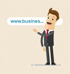 businessman pointing to the link website address vector image