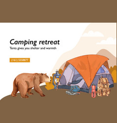 Camping frame design with tent lantern boot vector