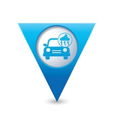 Car with vacuum cleaner icon map pointer blue vector