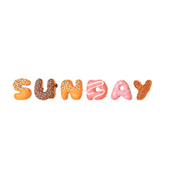 Cartoon donut and word sunday hand drawn drawing vector