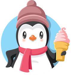 Cartoon penguin holding delicious ice cream vector