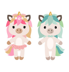 Cartoon unicorn girl and boy vector