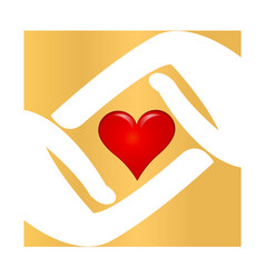 Charity hands holding heart icon vector