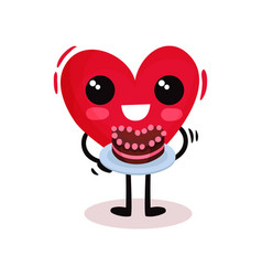 cheerful humanized red heart holding tasty cake vector image