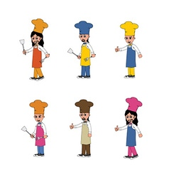 Chef cartoon set vector