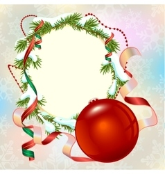 Christmas card template Fir branch frame and vector image