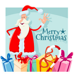 christmas design with cartoon santa claus vector image