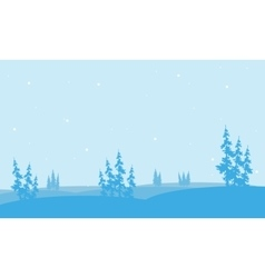Christmas spruce in hill of silhouette vector image