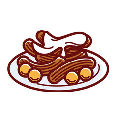 Churros with sweet cream on plate isolated vector