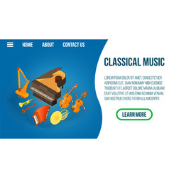 Classic music concept banner isometric style vector