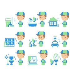 Cleaning Service Man And Finished Tasks Set Of vector