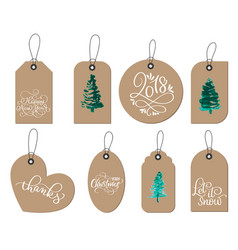Collection kraft paper christmas gift tags vector