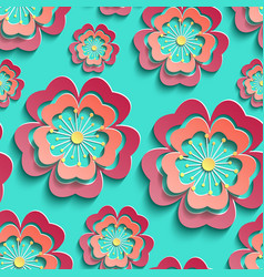 colorful seamless pattern with 3d stylized sakura vector image
