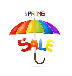 Colorful Spring Sale Background with Umbrella vector
