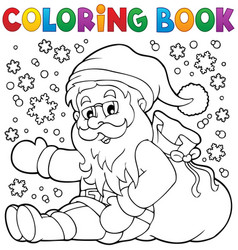 Coloring book santa claus in snow 1 vector