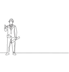 continuous one line drawing architect stood vector image