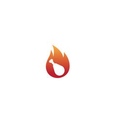 creative fire chicken leg logo design symbol vector image