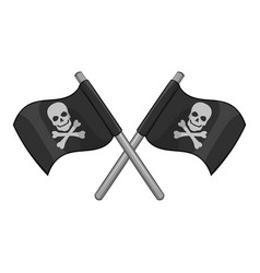 crossed pirate flags icon monochrome vector image
