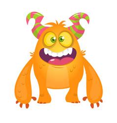 Cute cartoon silly orange horned monster vector