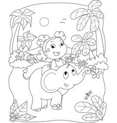 Cute girl riding an elephant vector