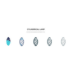Cylindrical lamp icon in different style two vector